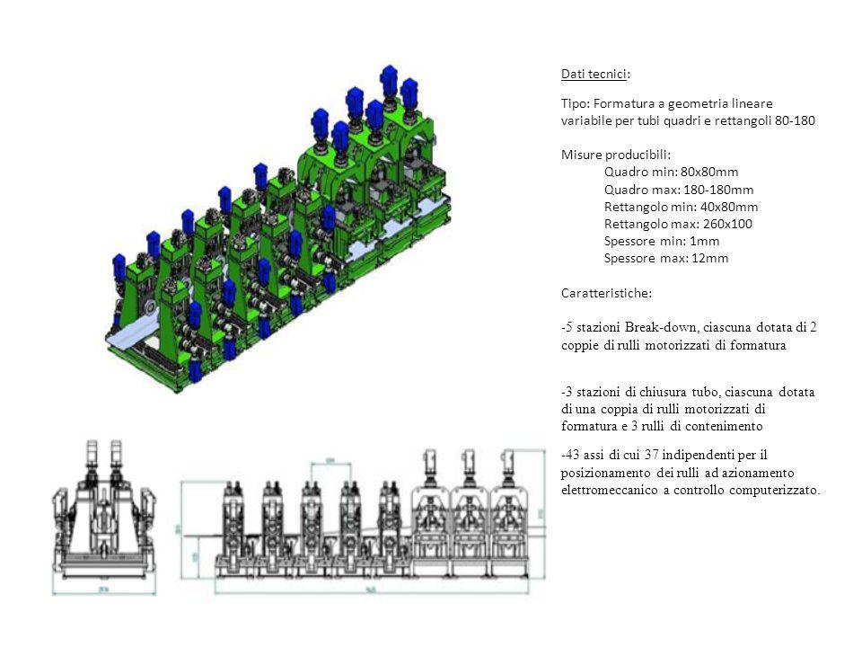 Dati tecnici: Tipo: Formatura a geometria lineare variabile per tubi quadri e rettangoli 80-180 Misure producibili: Quadro min: 80x80mm Quadro max: 18