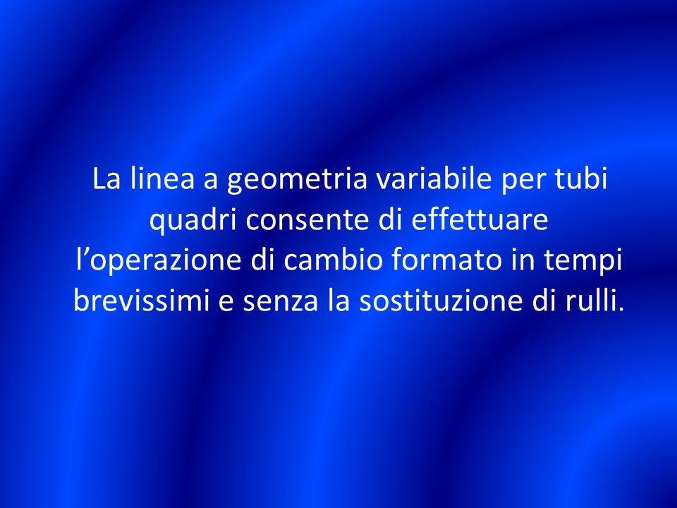 La linea a geometria variabile per tubi quadri consente di effettuare loperazione di cambio formato in tempi brevissimi e senza la sostituzione di rul