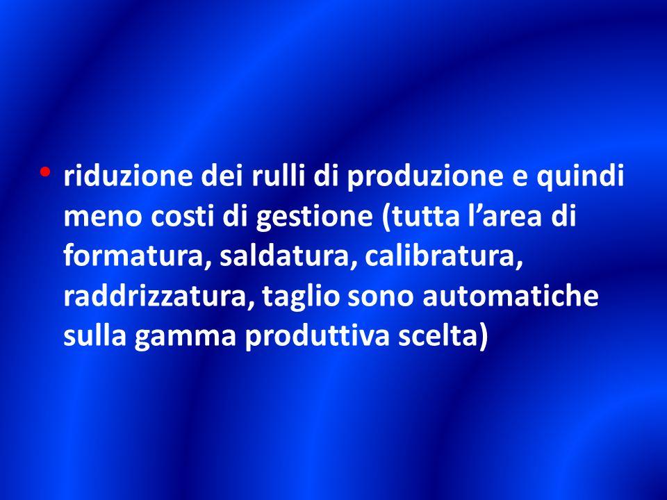riduzione dei rulli di produzione e quindi meno costi di gestione (tutta larea di formatura, saldatura, calibratura, raddrizzatura, taglio sono automa