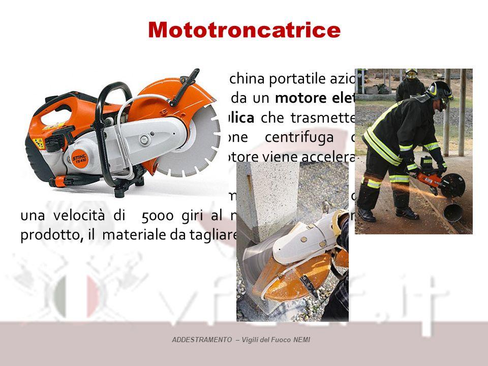 Mototroncatrice La mototroncatrice è una macchina portatile azionata a motore a scoppio di piccola cilindrata o da un motore elettrico 220 volt in c.a.