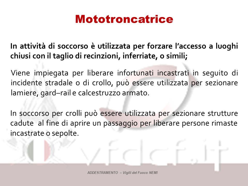 Mototroncatrice La mototroncatrice è una macchina portatile azionata a motore a scoppio di piccola cilindrata o da un motore elettrico 220 volt in c.a