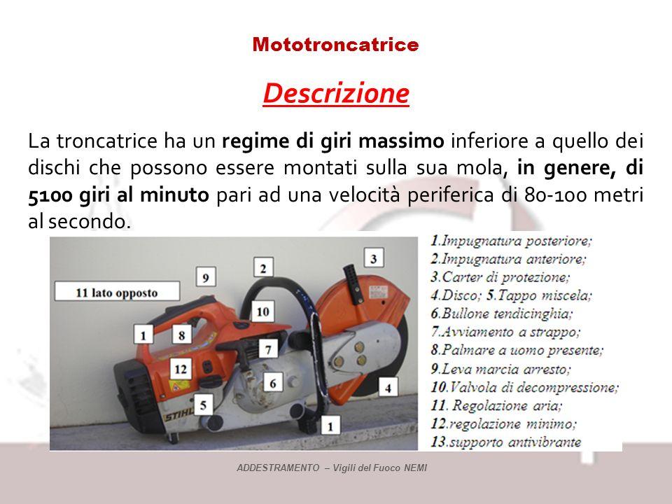 Mototroncatrice Descrizione La troncatrice ha un regime di giri massimo inferiore a quello dei dischi che possono essere montati sulla sua mola, in genere, di 5100 giri al minuto pari ad una velocità periferica di 80-100 metri al secondo.