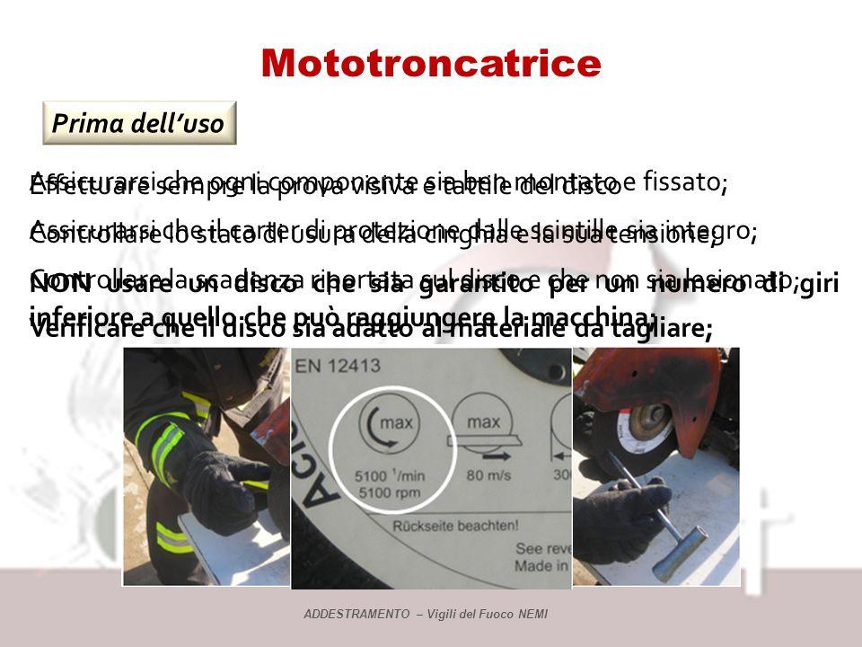 Mototroncatrice Descrizione La troncatrice ha un regime di giri massimo inferiore a quello dei dischi che possono essere montati sulla sua mola, in ge