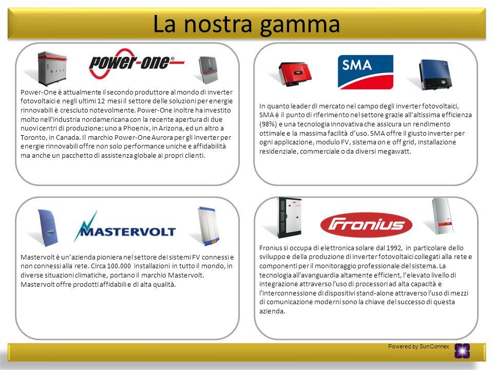 Powered by SunConnex La nostra gamma Mastervolt è unazienda pioniera nel settore dei sistemi FV connessi e non connessi alla rete. Circa 100.000 insta
