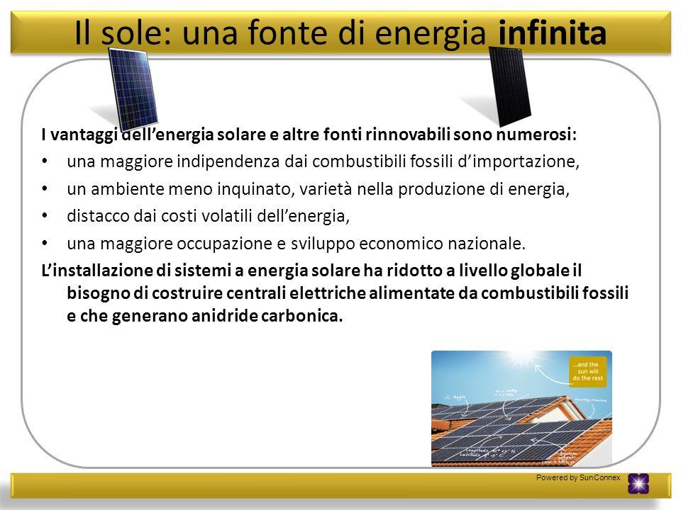 Powered by SunConnex Il sole: una fonte di energia infinita I vantaggi dellenergia solare e altre fonti rinnovabili sono numerosi: una maggiore indipe