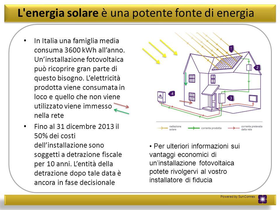 Powered by SunConnex Guadagnare dai propri investimenti Il sistema di remunerazione dellenergia elettrica prodotta dal vostro impianto fotovoltaico è regolato dal Conto Energia.Rivolgetevi al vostro installatore per informazioni sulle tariffe incentivanti in vigore al momento dellacquisto del vostro impianto.
