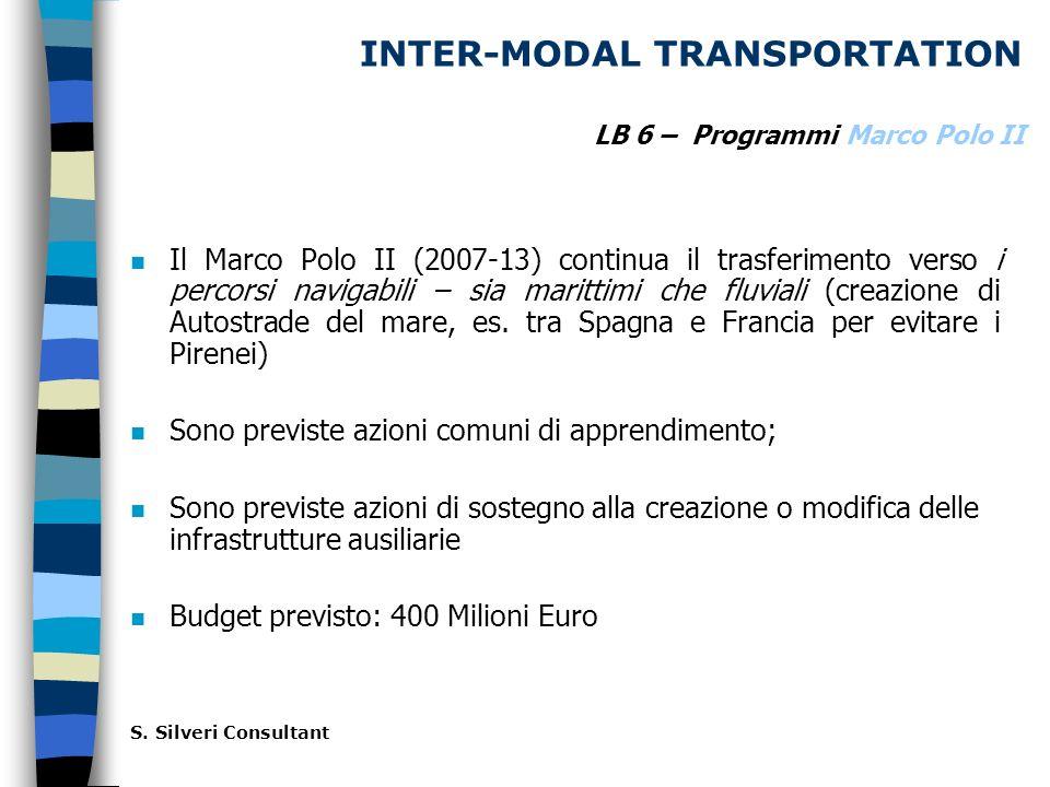 INTER-MODAL TRANSPORTATION n Il Marco Polo II (2007-13) continua il trasferimento verso i percorsi navigabili – sia marittimi che fluviali (creazione di Autostrade del mare, es.