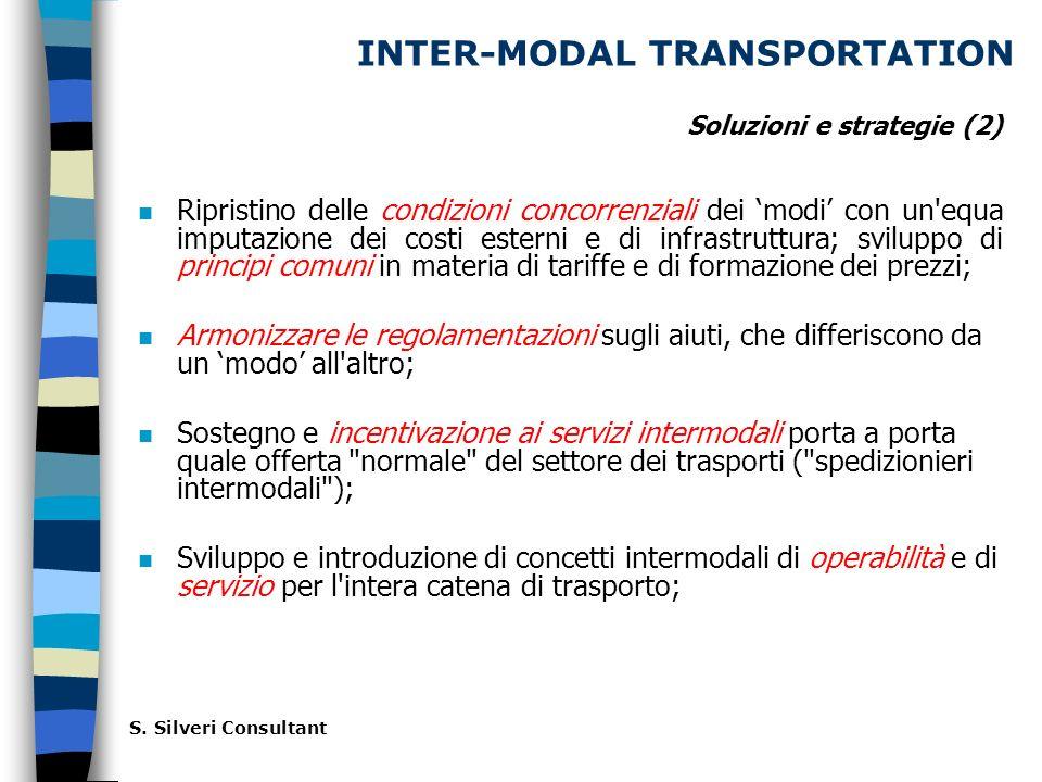INTER-MODAL TRANSPORTATION n Ripristino delle condizioni concorrenziali dei modi con un equa imputazione dei costi esterni e di infrastruttura; sviluppo di principi comuni in materia di tariffe e di formazione dei prezzi; n Armonizzare le regolamentazioni sugli aiuti, che differiscono da un modo all altro; n Sostegno e incentivazione ai servizi intermodali porta a porta quale offerta normale del settore dei trasporti ( spedizionieri intermodali ); n Sviluppo e introduzione di concetti intermodali di operabilità e di servizio per l intera catena di trasporto; S.