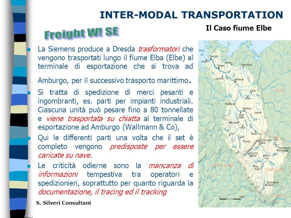 INTER-MODAL TRANSPORTATION La Siemens produce a Dresda trasformatori che vengono trasportati lungo il fiume Elba (Elbe) al terminale di esportazione che si trova ad Amburgo, per il successivo trasporto marittimo.