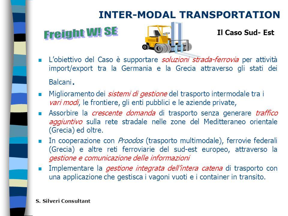 INTER-MODAL TRANSPORTATION Lobiettivo del Caso è supportare soluzioni strada-ferrovia per attività import/export tra la Germania e la Grecia attraverso gli stati dei Balcani.