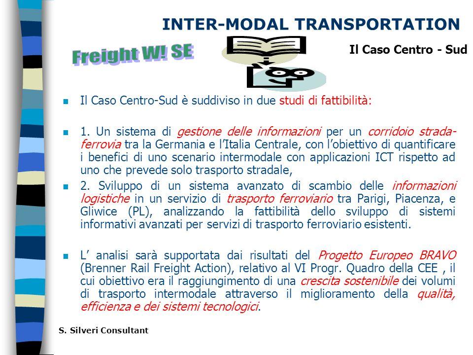 INTER-MODAL TRANSPORTATION n Il Caso Centro-Sud è suddiviso in due studi di fattibilità: n 1.
