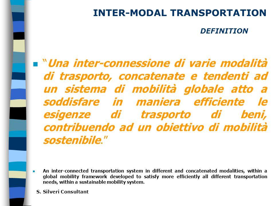 INTER-MODAL TRANSPORTATION DEFINITION nUna inter-connessione di varie modalità di trasporto, concatenate e tendenti ad un sistema di mobilità globale atto a soddisfare in maniera efficiente le esigenze di trasporto di beni, contribuendo ad un obiettivo di mobilità sostenibile.
