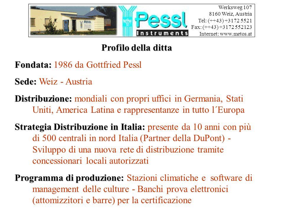 Werksweg 107 8160 Weiz, Austria Tel: (++43) +3172 5521 Fax: (++43) +3172 552123 Internet: www.metos.at Profilo della ditta Fondata: Fondata: 1986 da Gottfried Pessl Sede: Sede: Weiz - Austria Distribuzione: Distribuzione: mondiali con propri uffici in Germania, Stati Uniti, America Latina e rappresentanze in tutto l´Europa Strategia Distribuzione in Italia: Strategia Distribuzione in Italia: presente da 10 anni con più di 500 centrali in nord Italia (Partner della DuPont) - Sviluppo di una nuova rete di distribuzione tramite concessionari locali autorizzati Programma di produzione: Programma di produzione: Stazioni climatiche e software di management delle culture - Banchi prova elettronici (attomizzitori e barre) per la certificazione