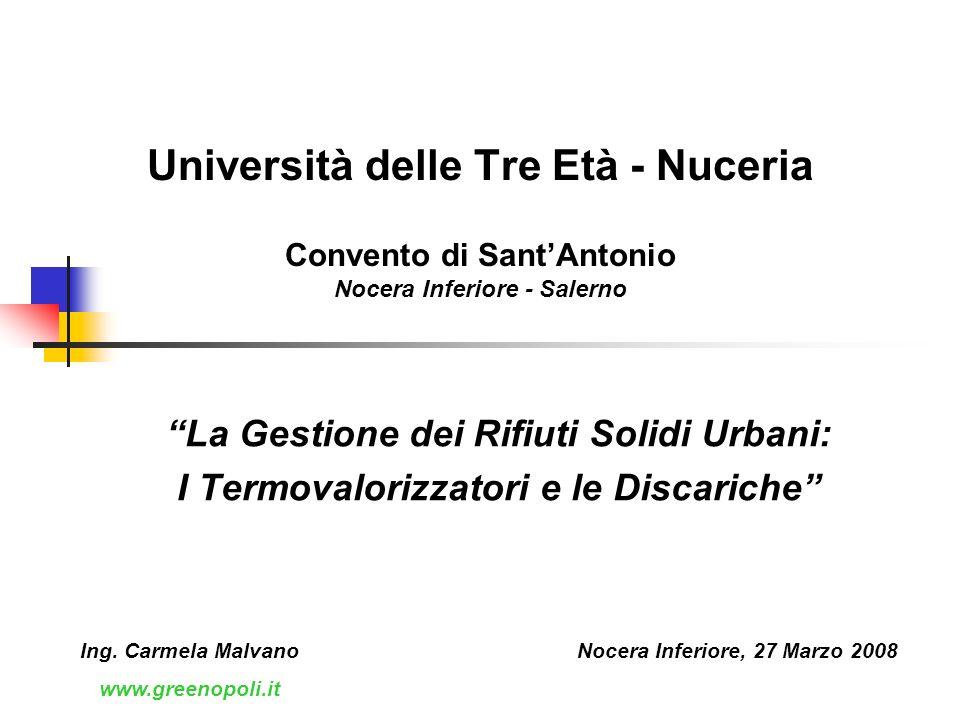 Università delle Tre Età - Nuceria Convento di SantAntonio Nocera Inferiore - Salerno La Gestione dei Rifiuti Solidi Urbani: I Termovalorizzatori e le Discariche Nocera Inferiore, 27 Marzo 2008Ing.