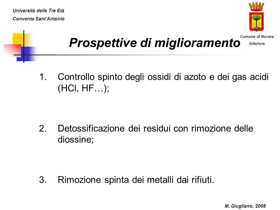 Prospettive di miglioramento 1.Controllo spinto degli ossidi di azoto e dei gas acidi (HCl, HF…); 2.Detossificazione dei residui con rimozione delle d