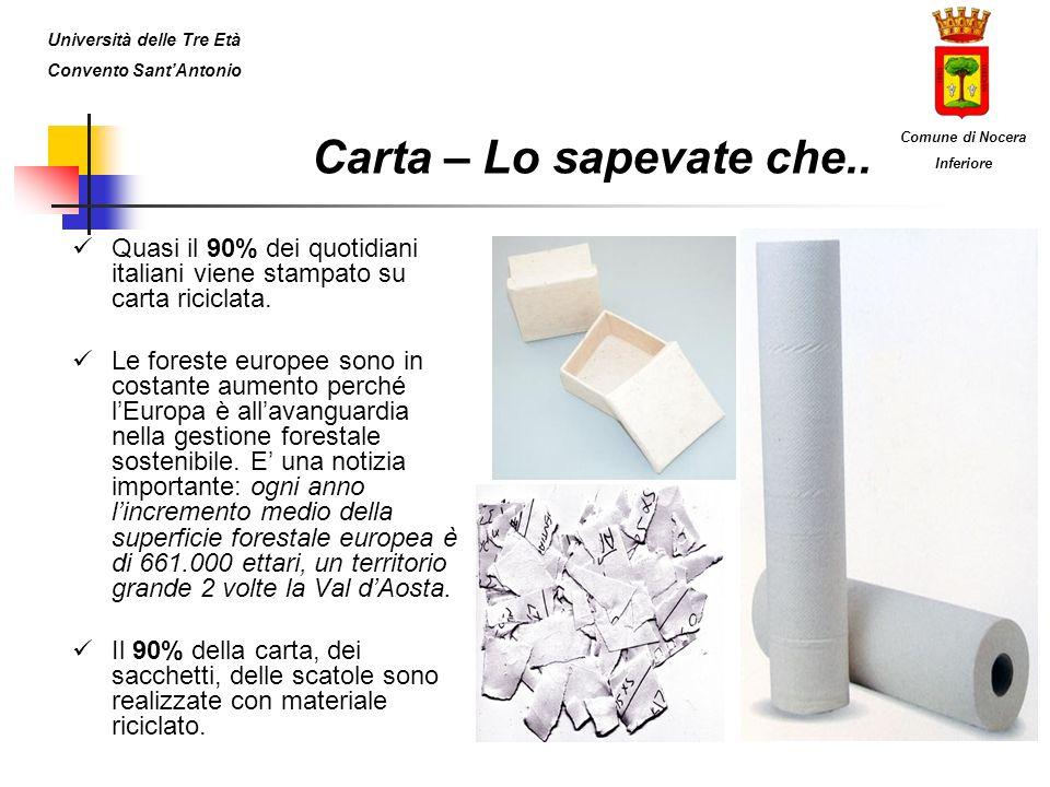 Quasi il 90% dei quotidiani italiani viene stampato su carta riciclata. Le foreste europee sono in costante aumento perché lEuropa è allavanguardia ne