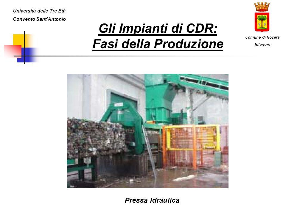 Gli Impianti di CDR: Fasi della Produzione Pressa Idraulica Università delle Tre Età Convento SantAntonio Comune di Nocera Inferiore
