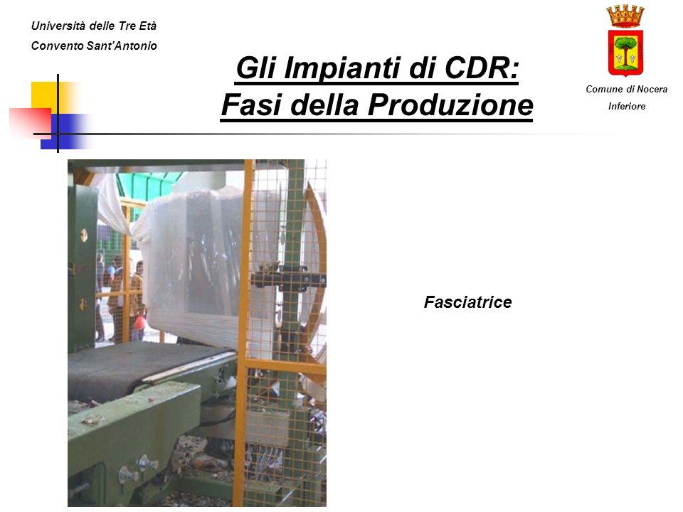 Gli Impianti di CDR: Fasi della Produzione Fasciatrice Università delle Tre Età Convento SantAntonio Comune di Nocera Inferiore