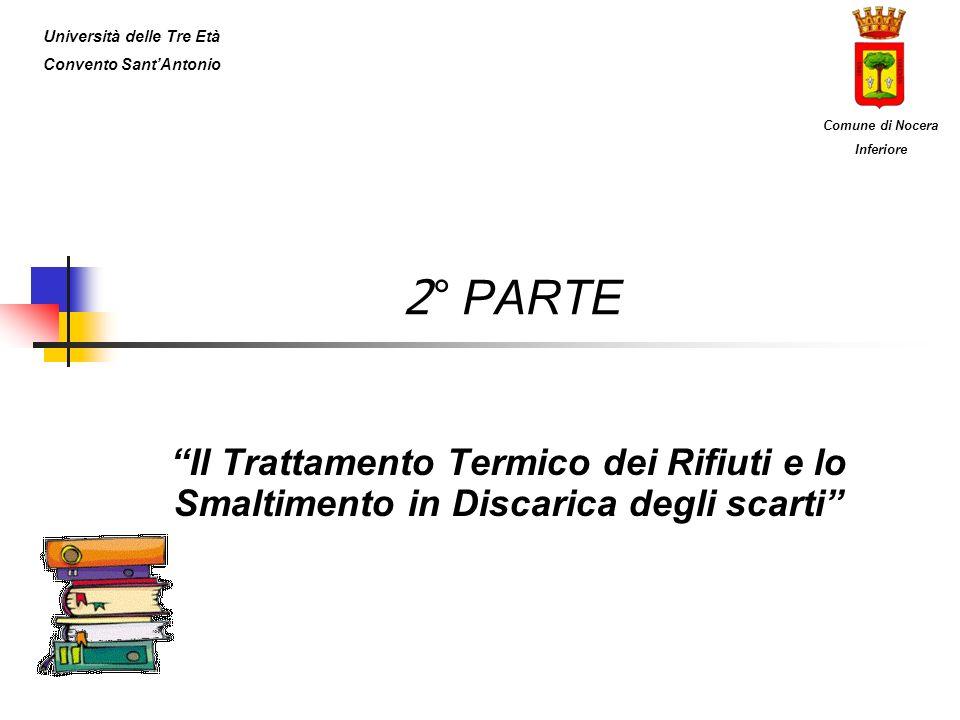 2 ° PARTE Il Trattamento Termico dei Rifiuti e lo Smaltimento in Discarica degli scarti Università delle Tre Età Convento SantAntonio Comune di Nocera
