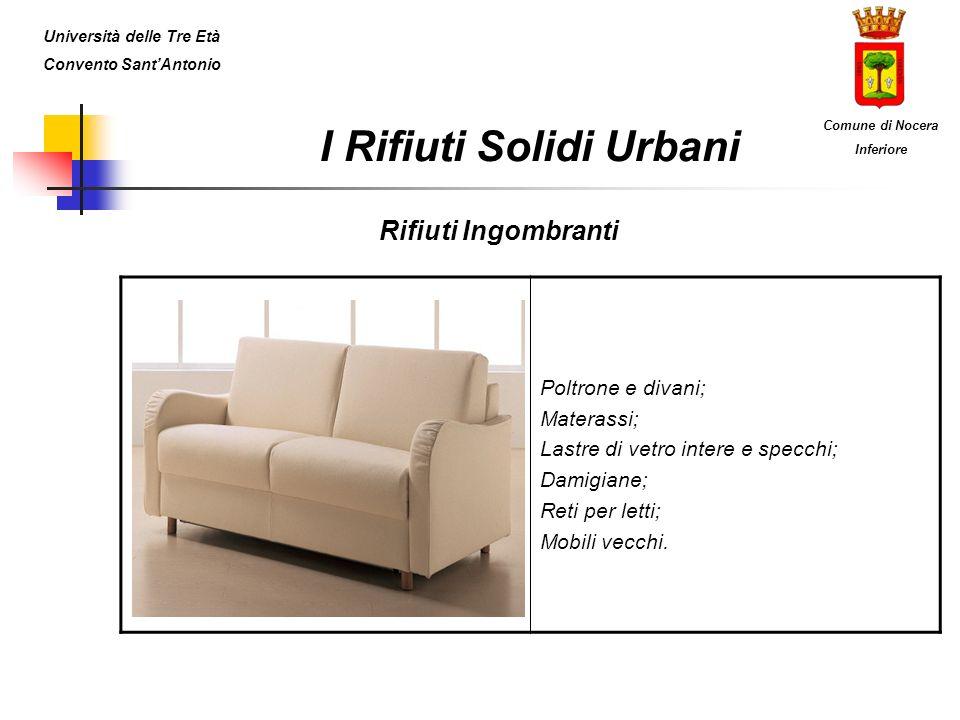 I Rifiuti Solidi Urbani Beni Durevoli Beni BianchiBeni BruniBeni Grigi Lavatrici; Lavastoviglie; Frigoriferi; Congelatori.