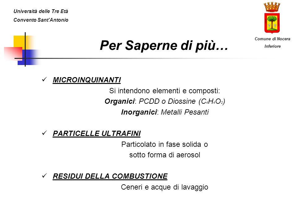 Per Saperne di più… MICROINQUINANTI Si intendono elementi e composti: Organici: PCDD o Diossine (C 4 H 4 O 2 ) Inorganici: Metalli Pesanti PARTICELLE
