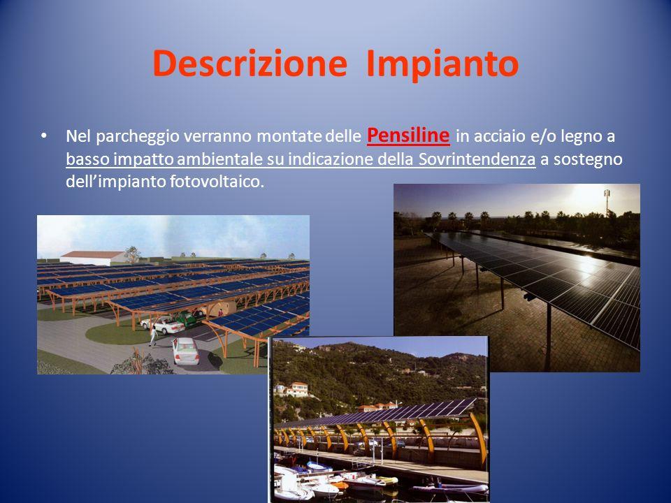 Descrizione Impianto Nel parcheggio verranno montate delle Pensiline in acciaio e/o legno a basso impatto ambientale su indicazione della Sovrintenden