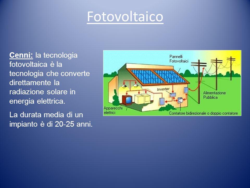 Cenni: la tecnologia fotovoltaica è la tecnologia che converte direttamente la radiazione solare in energia elettrica. La durata media di un impianto