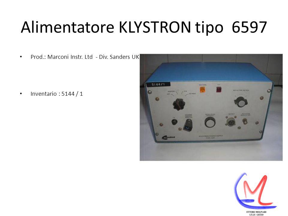 Alimentatore KLYSTRON tipo 6597 Prod.: Marconi Instr. Ltd - Div. Sanders UK Inventario : 5144 / 1