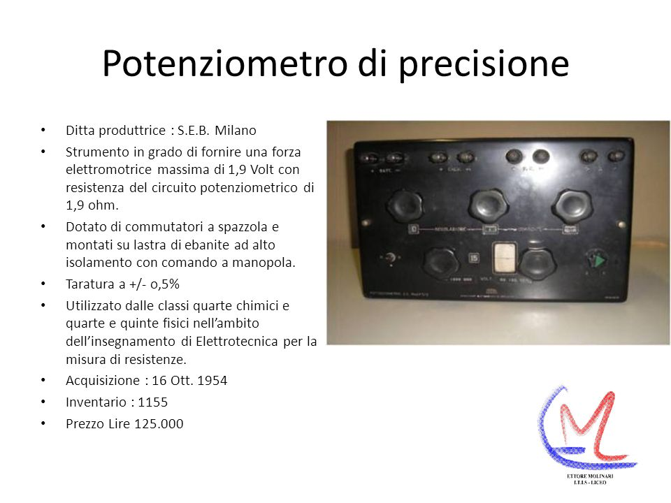 Potenziometro di precisione Ditta produttrice : S.E.B.
