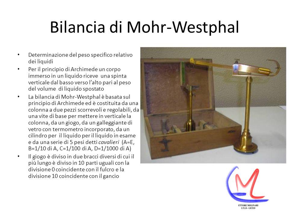 Bilancia di Mohr-Westphal Determinazione del peso specifico relativo dei liquidi Per il principio di Archimede un corpo immerso in un liquido riceve una spinta verticale dal basso verso lalto pari al peso del volume di liquido spostato La bilancia di Mohr-Westphal è basata sul principio di Archimede ed è costituita da una colonna a due pezzi scorrevoli e regolabili, da una vite di base per mettere in verticale la colonna, da un giogo, da un galleggiante di vetro con termometro incorporato, da un cilindro per il liquido per il liquido in esame e da una serie di 5 pesi detti cavalieri (A=E, B=1/10 di A, C=1/100 di A, D=1/1000 di A) Il giogo è diviso in due bracci diversi di cui il più lungo è diviso in 10 parti uguali con la divisione 0 coincidente con il fulcro e la divisione 10 coincidente con il gancio