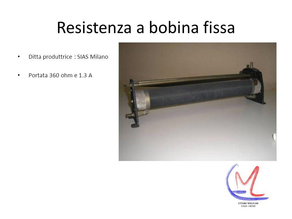 Resistenza a bobina fissa Ditta produttrice : SIAS Milano Portata 360 ohm e 1.3 A