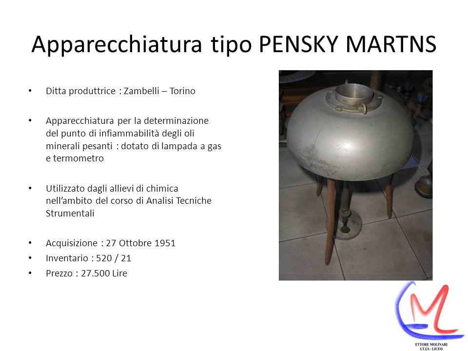 Apparecchiatura tipo PENSKY MARTNS Ditta produttrice : Zambelli – Torino Apparecchiatura per la determinazione del punto di infiammabilità degli oli minerali pesanti : dotato di lampada a gas e termometro Utilizzato dagli allievi di chimica nellambito del corso di Analisi Tecniche Strumentali Acquisizione : 27 Ottobre 1951 Inventario : 520 / 21 Prezzo : 27.500 Lire