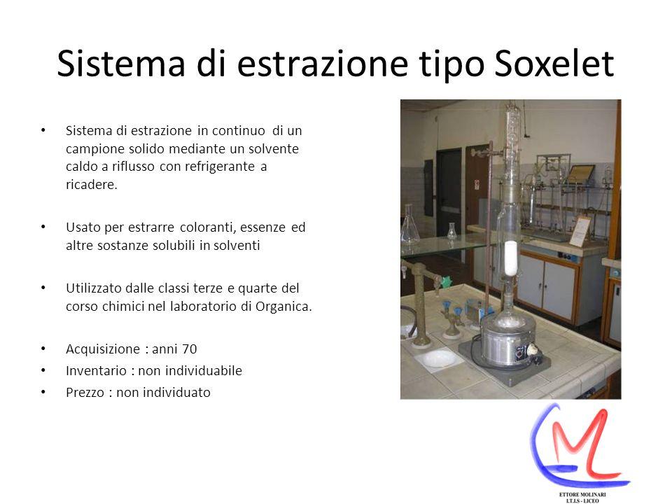 Sistema di estrazione tipo Soxelet Sistema di estrazione in continuo di un campione solido mediante un solvente caldo a riflusso con refrigerante a ricadere.
