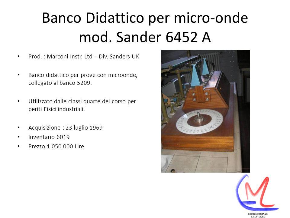 Banco Didattico per micro-onde mod.Sander 6452 A Prod.