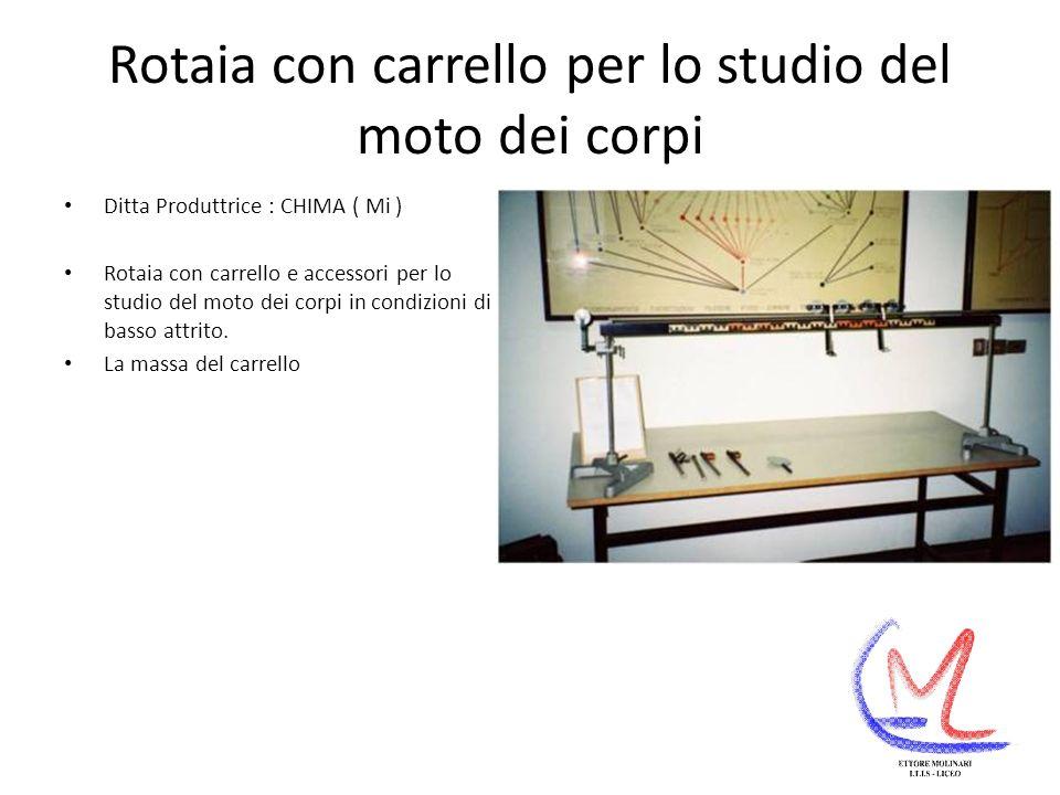 Rotaia con carrello per lo studio del moto dei corpi Ditta Produttrice : CHIMA ( Mi ) Rotaia con carrello e accessori per lo studio del moto dei corpi in condizioni di basso attrito.