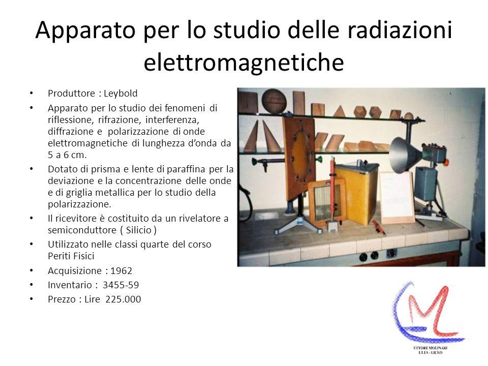 Apparato per lo studio delle radiazioni elettromagnetiche Produttore : Leybold Apparato per lo studio dei fenomeni di riflessione, rifrazione, interferenza, diffrazione e polarizzazione di onde elettromagnetiche di lunghezza donda da 5 a 6 cm.