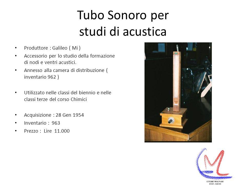 Tubo Sonoro per studi di acustica Produttore : Galileo ( Mi ) Accessorio per lo studio della formazione di nodi e ventri acustici.