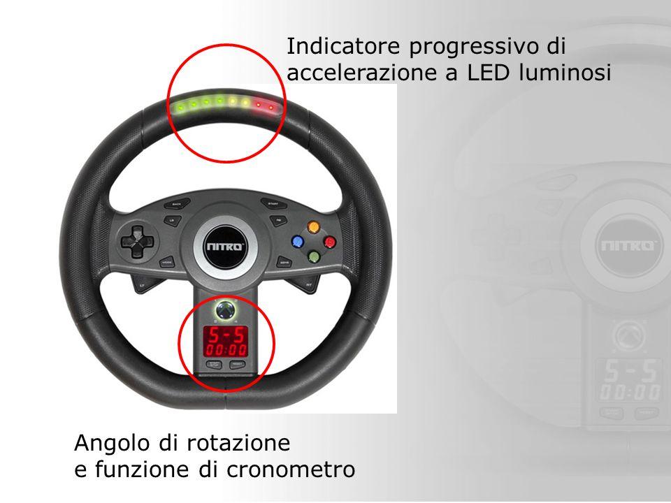 Indicatore progressivo di accelerazione a LED luminosi Angolo di rotazione e funzione di cronometro