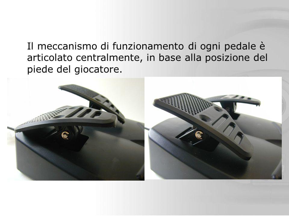 Il meccanismo di funzionamento di ogni pedale è articolato centralmente, in base alla posizione del piede del giocatore.