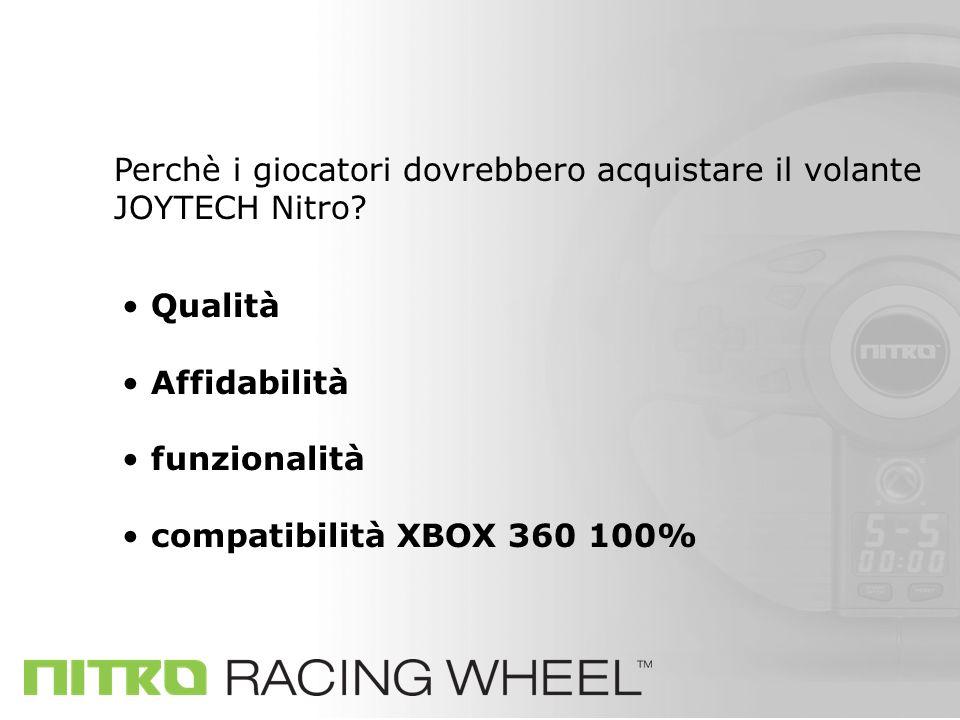 Qualità Affidabilità funzionalità compatibilità XBOX 360 100% Perchè i giocatori dovrebbero acquistare il volante JOYTECH Nitro?