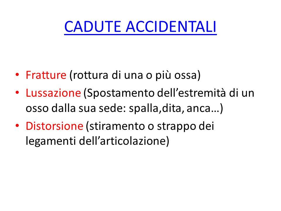 CADUTE ACCIDENTALI Fratture (rottura di una o più ossa) Lussazione (Spostamento dellestremità di un osso dalla sua sede: spalla,dita, anca…) Distorsio