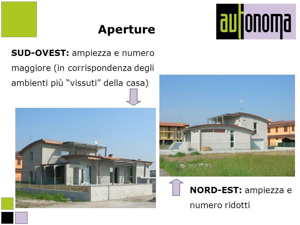 Aperture SUD-OVEST: ampiezza e numero maggiore (in corrispondenza degli ambienti più vissuti della casa) NORD-EST: ampiezza e numero ridotti