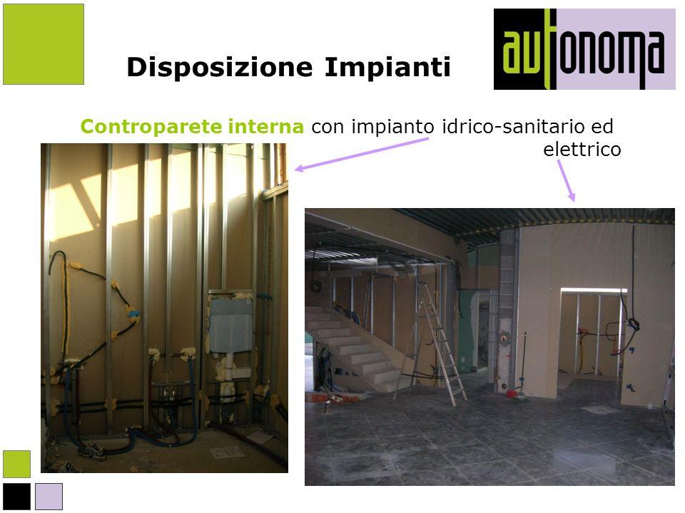 Disposizione Impianti Controparete interna con impianto idrico-sanitario ed elettrico