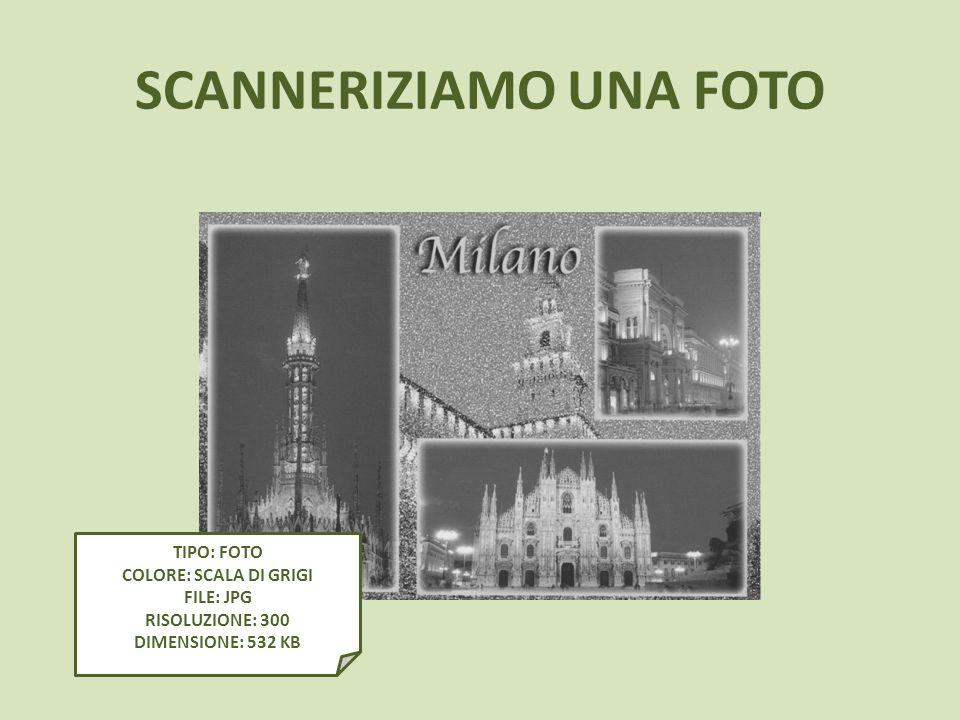 SCANNERIZIAMO UNA FOTO TIPO: FOTO COLORE: SCALA DI GRIGI FILE: JPG RISOLUZIONE: 300 DIMENSIONE: 532 KB