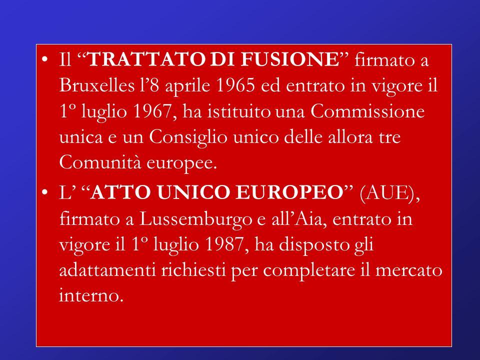 Il TRATTATO DI FUSIONE firmato a Bruxelles l8 aprile 1965 ed entrato in vigore il 1º luglio 1967, ha istituito una Commissione unica e un Consiglio unico delle allora tre Comunità europee.