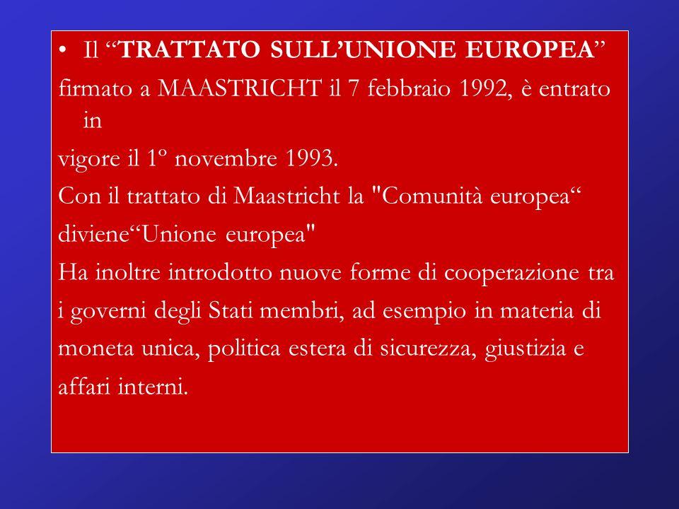 Il TRATTATO SULLUNIONE EUROPEA firmato a MAASTRICHT il 7 febbraio 1992, è entrato in vigore il 1º novembre 1993.