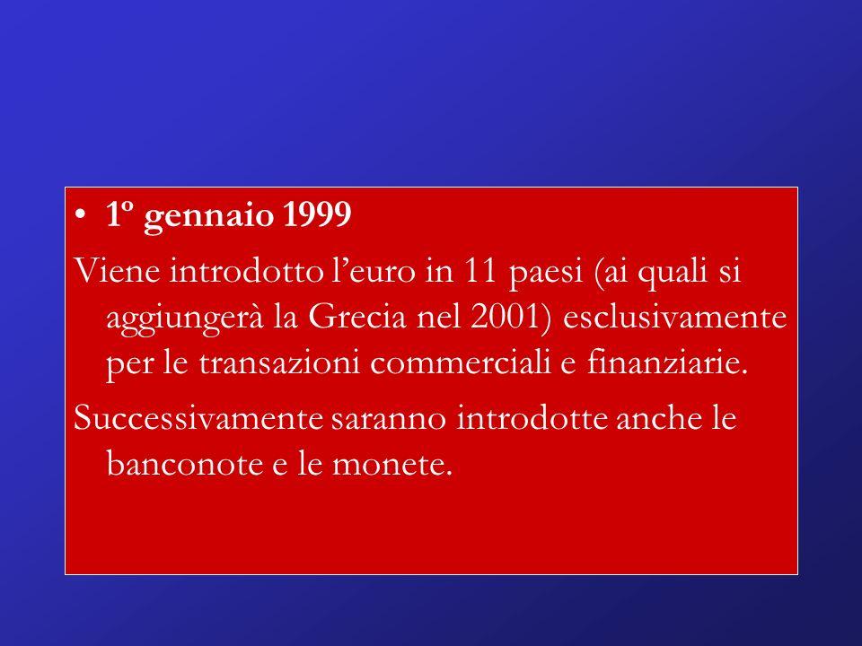 1º gennaio 1999 Viene introdotto leuro in 11 paesi (ai quali si aggiungerà la Grecia nel 2001) esclusivamente per le transazioni commerciali e finanziarie.