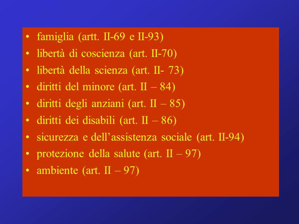 famiglia (artt. II-69 e II-93) libertà di coscienza (art.