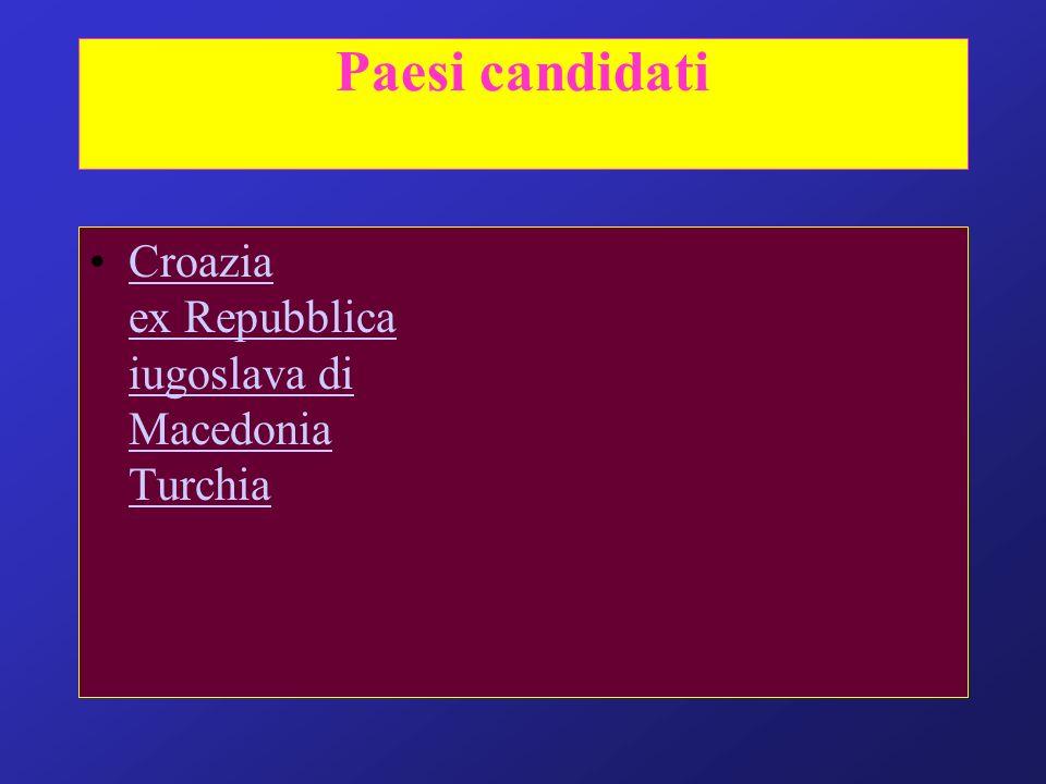 Paesi candidati Croazia ex Repubblica iugoslava di Macedonia TurchiaCroazia ex Repubblica iugoslava di Macedonia Turchia