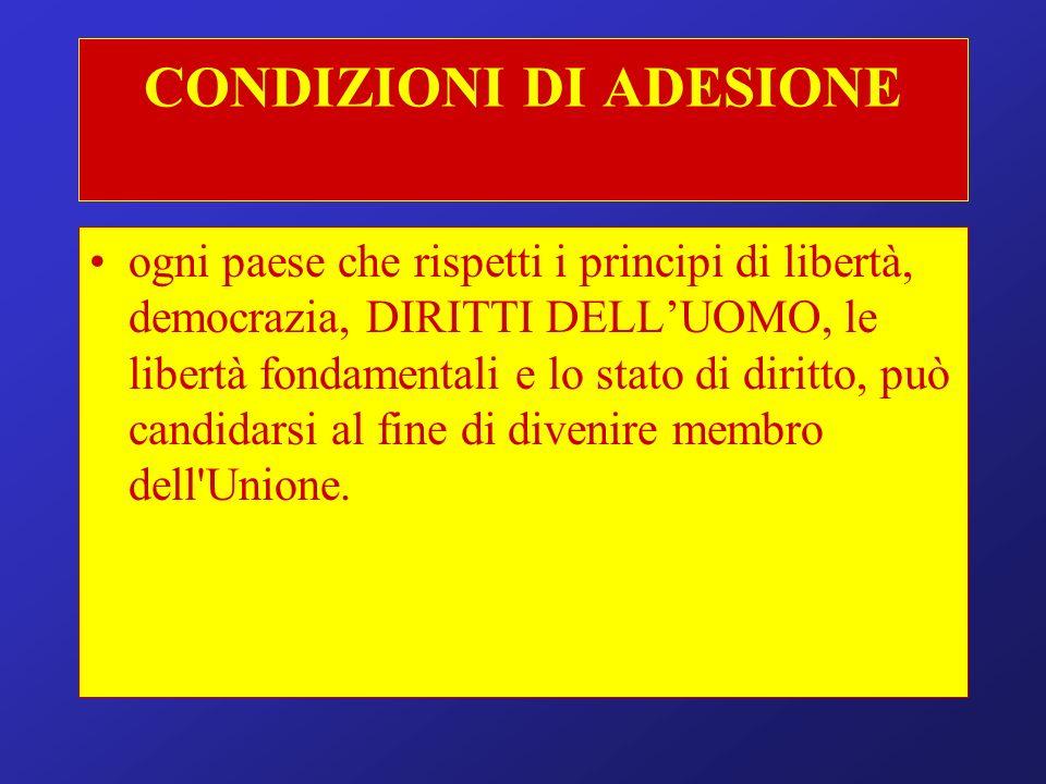CONDIZIONI DI ADESIONE ogni paese che rispetti i principi di libertà, democrazia, DIRITTI DELLUOMO, le libertà fondamentali e lo stato di diritto, può candidarsi al fine di divenire membro dell Unione.